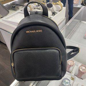 MK Erin SM Leather Convertible Backpack Black
